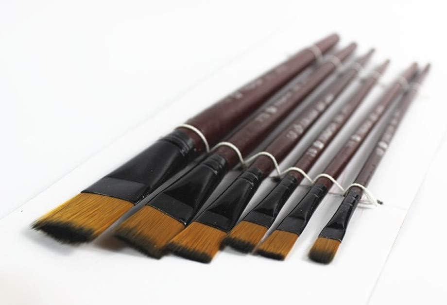 Lomsarsh Nouveaux pinceaux en nylon de lart 6Pcs brun pour lhuile daquarelle acrylique pour que les enfants et les adultes cr/éent la peinture dart