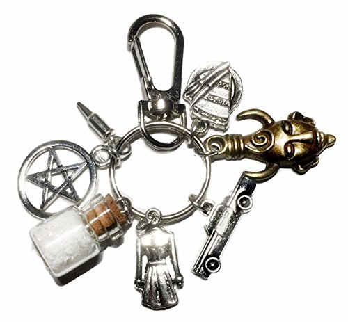 Multi Charm Keychain - Supernatural Salt Bottle Protection Multi Charm Metal Keychain