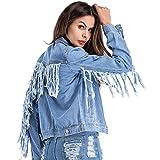Chartou Womens Stylish Back-Sleeve Fringe Patchwork Chic Pockets Short Denim Jean Jacket (Blue, X-Large)