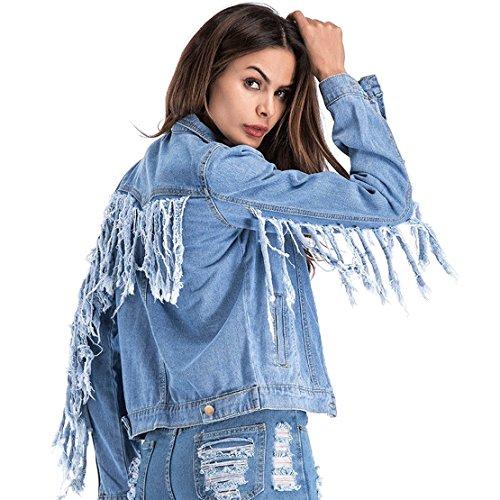 Chartou Womens Stylish Back-Sleeve Fringe Patchwork Chic Pockets Short Denim Jean Jacket (Blue, X-Large) -