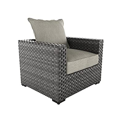 Ashley Furniture Signature Design - Spring Dew Outdoor Lounge Chair with Cushion - Gray - OUTDOOR LOUNGE CHAIR: Fashioned in shades of gray, this lounge chair has comfort and durability beyond your wildest dreams. The wicker look brings that beachy vibe you crave-without the fuss DURABLE DESIGN: Made with all weather handwoven resin wicker over a rust proof aluminum frame in a powdercoat finish. Zippered cushions are covered in high-performance Nuvella polyester HIGH STYLE: The ultra cool gray hues make it easy to pair with other decor or add an upscale look to your space. It's positively charming and comfortable pool side or underneath an umbrella - patio-furniture, patio-chairs, patio - 51gI4Dqhq5L. SS400  -