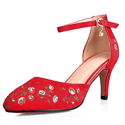 Nine Seven Cuero Moda Puntiagudos Zapatos de Tacón Aguja con Bordado para Mujer Rojo