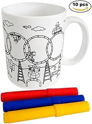 Lote 10 Tazas Para Colorear Presentada en Cajita de Regalo- Regalos Cumpleaños, Colegios, Niños, Infantiles, Comuniones, Tazas, tacitas Infantiles ...