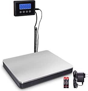 Fuzion Shipping Scale 360lb with High Accuracy, Stainless Steel Heavy Duty Postal Scale with Timer/Hold/Tare, Digital Postage Scale for Packages/Luggage/Post Office/Home, Battery & DC Adapter Included