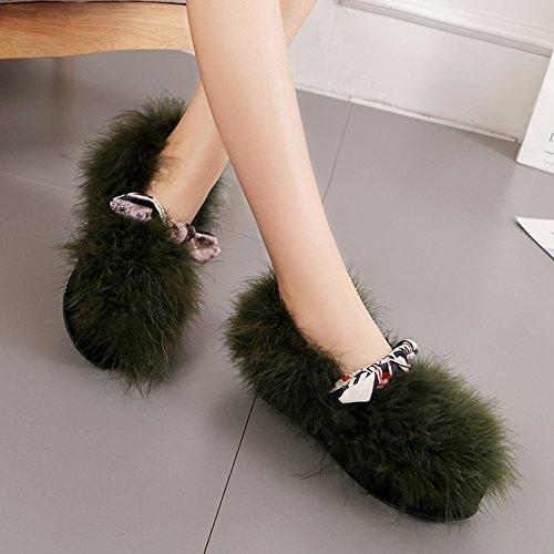 Pur Couleur Peu Profonde Bouche Chaussures en Peluche Pois Femelles Chaussures Plat Paresseux Chaussures Chaussures en Laine , armée verte , 36,5 EUR