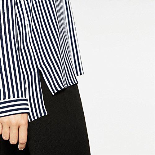 Summer Dimensione Lunga Blu Con V Cravatta Yingsssq Scuro Donna colore Stripe Camicetta Scollo Scuro Camicia Da L Manica Casual A wfn4qOT