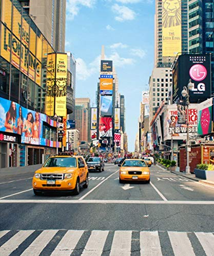 8X10FT NYC Cabs Taxi New York America Times Square USA Landscape Pictorial Cloth Customized Photography Backdrops Digital Printing Background Photo Studio Prop -