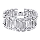 Niv's Bling 14K White Gold Plated Iced Out Simulated Diamond Hip Hop Link Bracelet