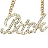 Q&Q Fashion Gold Plated Celebrity Urban Gold Bling Bitch Word Crystal Pave Chunky Chain Necklace,20""