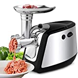 Electric Meat Grinder, Meat Mincer with 3 Grinding Plates and Sausage Stuffing Tubes for Home Use &Commercial, Stainless Steel/Silver/1000W