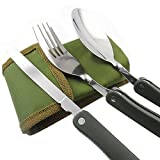 Ezyoutdoor 3 Piece Folding Stainless Steel (Folk, Spoon,Knife) Portable Pocket Tableware Camping Cutlery Set Camping Picnic Utensil with Canvas Carry Pouch-Set of 2