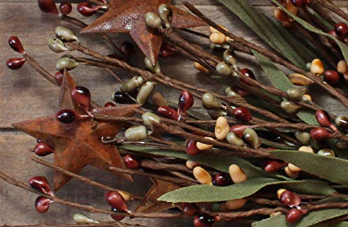 (Primitive & Country Style 12'' Leafy Pip Berry Pick w/Rusty Stars - Light Burgundy, Sage, Mustard Rustic Home Decor)