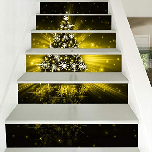 Iusun 3D Christmas Tree Waterproof Stair Wall Stickers DIY Mobile Creative Glass -