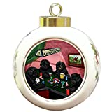 Home of Affenpinschers 4 Dogs Playing Poker Round Ball Christmas Ornament