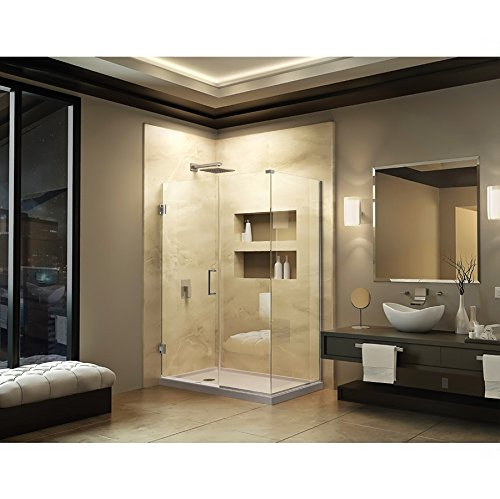 DreamLine Unidoor Plus 34 3/8 in. D x 35 in. W, Frameless Hinged Shower Enclosure, 3/8'' Glass, Chrome Finish by DreamLine (Image #1)