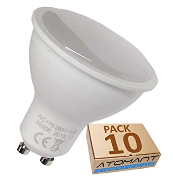 (LA) 10x GU10 LED 5W, 120 grados de apertura. Halogeno LED 550