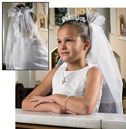 Religious Gift Catholic Girls Holy First Communion Elegant Tiara Silk Floral 25 Inch Mesh Veil ()