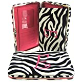 "Hot Pink Initial "" E "" Zebra Print Soft Velvet Stripes Thick 1″ Flat Wallet, Bags Central"