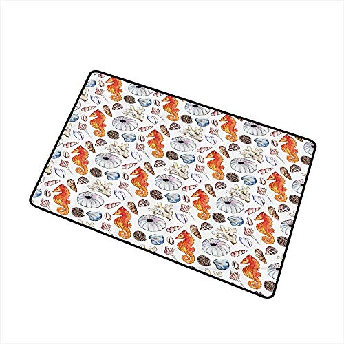 Jbgzzm Door mat Animal Decor Bunch of Deep Sea Elements with Screw Shell Crabs Urchin Oyster Coral Ammonit Print W35 xL59 Indoor Outdoor, Waterproof, Easy Clean Multi