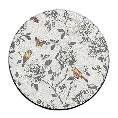Waterproof Flower Bird Butterfly Round Splash Splat Mat For Under High Chair Floor Protector Cover 23.6