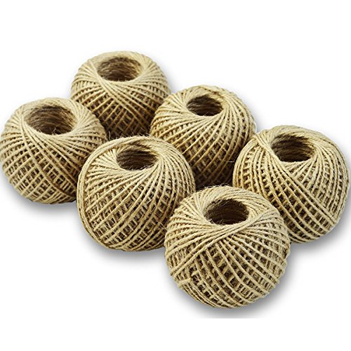 Jute Twine for Crafts, Butcher String, or Garden- 6 Roll Value Pack 220 Ft Per Roll ()