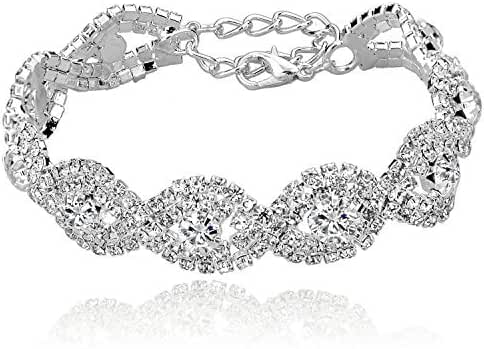 Long Way Women's Silver/Gold Plated Crystal Bracelets 6.7