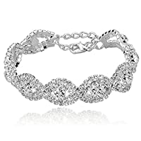 "Long Way Women's Silver/Gold Plated Crystal Bracelets 6.7""+2.4"""