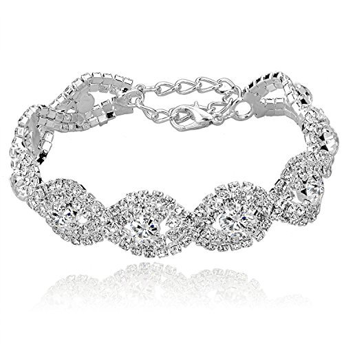 Long Way Women's Silver Plated Chain Clear Austrian Crystal White Rhinestone Link Bracelets Wedding Jewelry