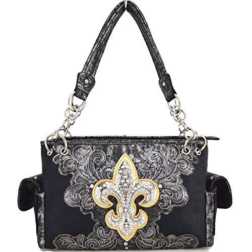 Blancho Bettwäsche-Frauen [Klassisches Muster] PU-lederner Art- und Weisetasche Handbad eleganter Geldbeutel Handbag-Schwarz