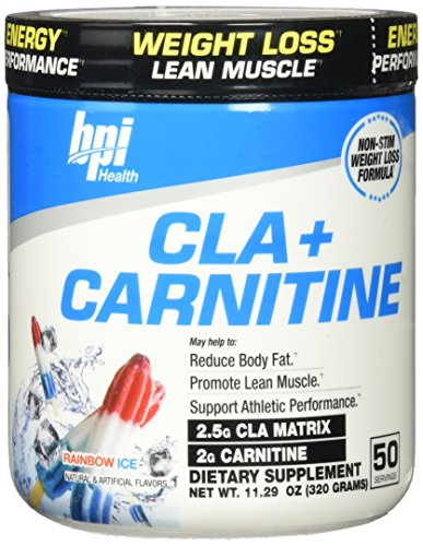 BPI Sports Cla + Carnitine Non-Stimulant Weight Loss Supplement Powder, Rainbow Ice, 11.29 Ounce