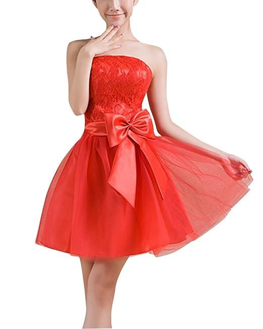 Mujer Vestido Elegante para Boda Ceremonia De Vuelo Encaje Floral Precioso Vestido Rojo XL