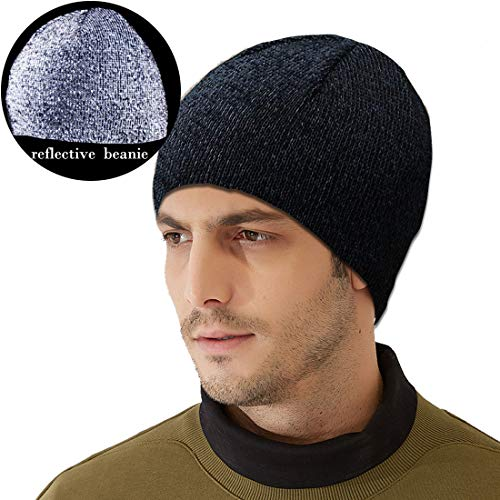 Harmony Life Super Bright Reflective Running Hat High Visibility Reflective Beanie Cap Man Women (Black)