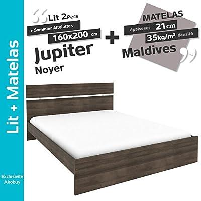Jupiter Nogal – Pack Cama 160 x 200 cm + somier altolattes + ...