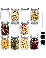 EkkoVla 12 Pack 16 oz Regular Mouth Glass Mason Jars with Silver Lids, Canning Jars for Jam, Jelly, Caviar, Shower Favors, Baby Foods, Wedding Favors (1 Chalk Pen and 20 Labels)