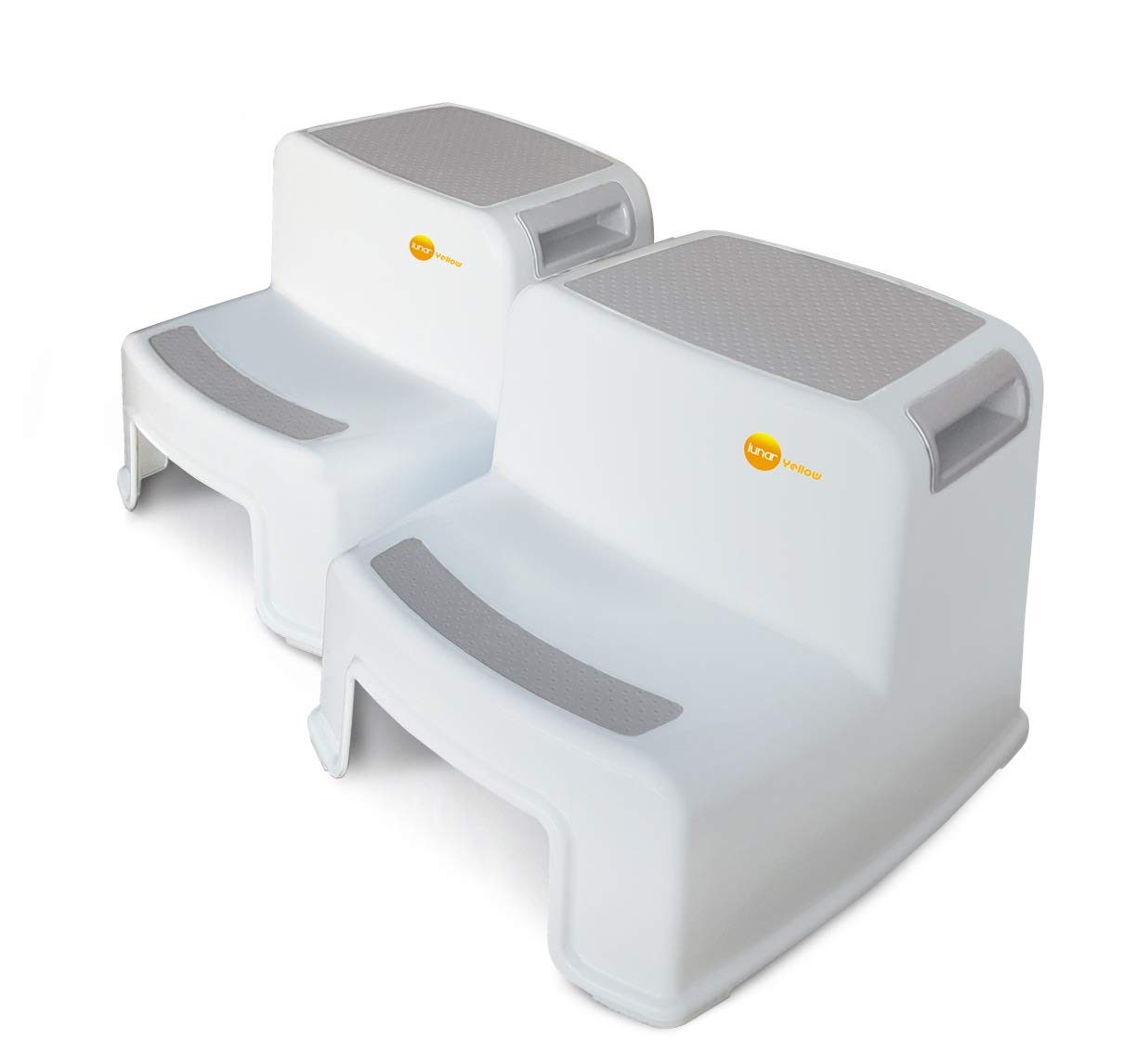 2 Step Stool for Kids and Toddlers (2 Pack) by Lunar Yellow • Heavy Duty Safety Grips • Duel Height • Wide Steps • Lightweight & Portable • Use for Potty Training, Kitchen, Bedside & Bathroom (White) by Lunar Yellow