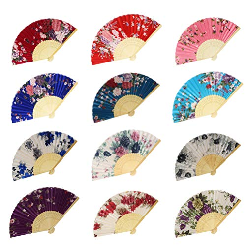 Lee-buty 12pcs Floral Folding Hand Fan Flower Pattern Satin Fabric Handheld Folding Fans Women Hand Folding Fans Vintage Retro Style Folding Fan with Wooden Ribs for Wedding Dancing Party ()