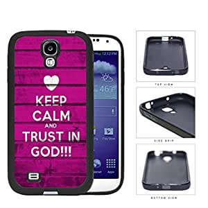Keep Calm And Trust In God Magenta Wood Pattern Rubber Silicone TPU Cell Phone Case Samsung Galaxy S4 SIV I9500