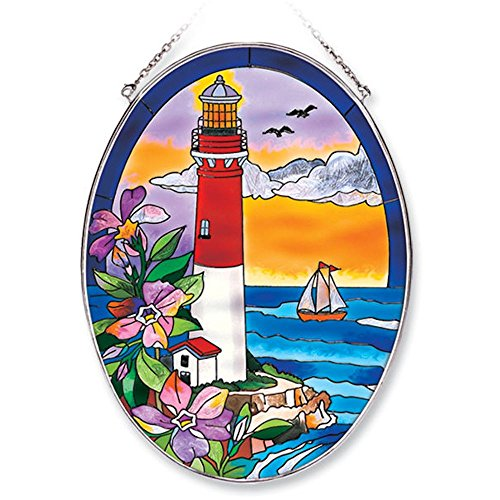 Suncatcher Lighthouse (Amia Oval Suncatcher with Lighthouse Design, Hand Painted Glass, 6-1/2-Inch by 9-Inch)