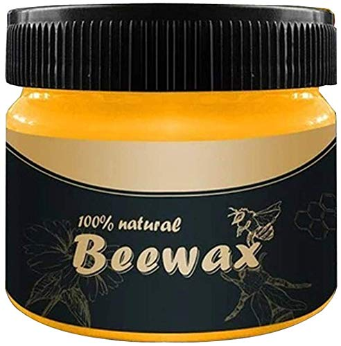 Wood Seasoning Beewax, Multipurpose Natural Wood Wax Traditional Beeswax Polish for Furniture, Floor, Tables, Chairs, Cabinets... (1 Pack)