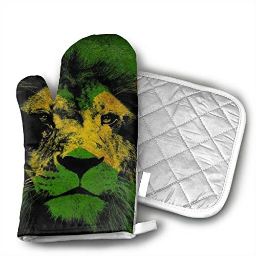Lion of Jamaica Kitchen Potholder - Heat Resistant Oven Gloves to Protect Hands and Surfaces with Non-Slip Grip,Ideal for Handling Hot Cookware Items.