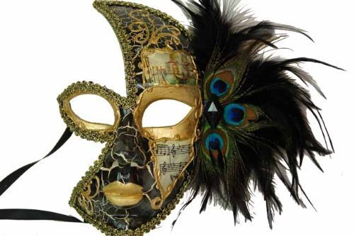 Classic Vintage Venetian Female Phantom Half Mask Design Laser Cut Masquerade Mask for Mardi Gras Events or Halloween - Black w/ Decorative Peacock Feathers