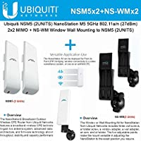 Ubiquiti NSM5 2pack NanoStation 5GHz 16dBi 2x2MIMO +NS-WM 2Pack Wall Mounting