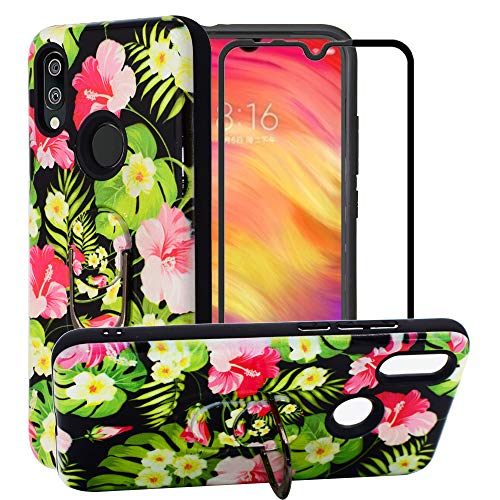 BestAlice for Xiaomi Redmi 7 Case with Tempered Glass Screen Protector, Cartoon Hybrid Heavy Duty Protection Shockproof Defender Kickstand Armor Cute Cover, Green ()