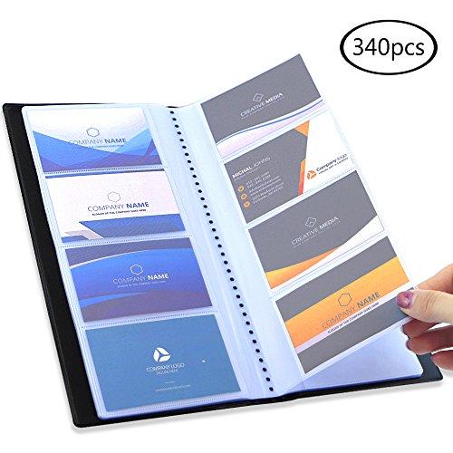 Business Card File Holder - JPSOR Business Card Holder, 340 Pocket Black Journal Name Card Holder Book Case Organizer, for Office Use