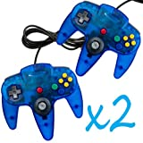 2 New Clear Blue Controller Joystick Pad for Nintendo N64 System Game Gaming Handle Long