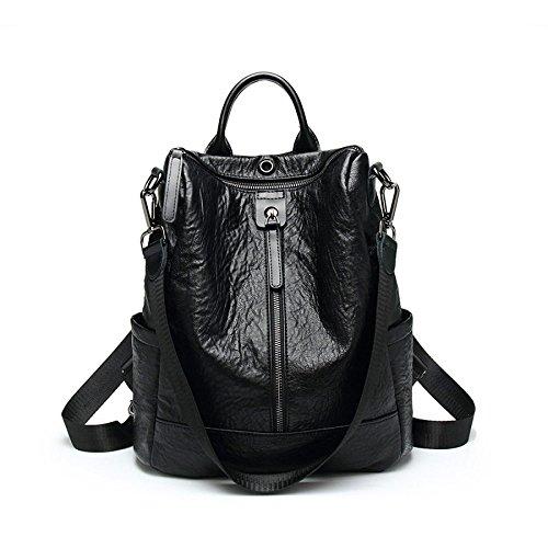 Moyen Grand sac à dos en cuir ville sac à dos pour les femmes noir Vintage chaud occasionnel quotidien sac à dos en cuir véritable sac à dos sac Black-single Zipper