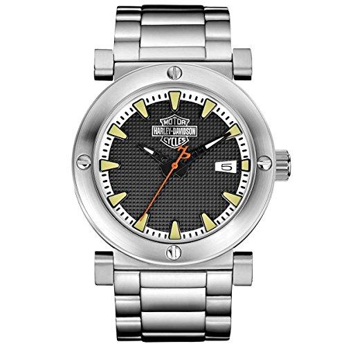 Harley-Davidson Men's Bulova Grey Bar & Shield Wrist Watch 76B165