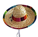 JudyBridal Pets Handcraft Sun Hat Cat Dog Mini Straw Hat Sombrero Mexican Costume Accessories Supplies for Birthday Christmas Halloween Party S