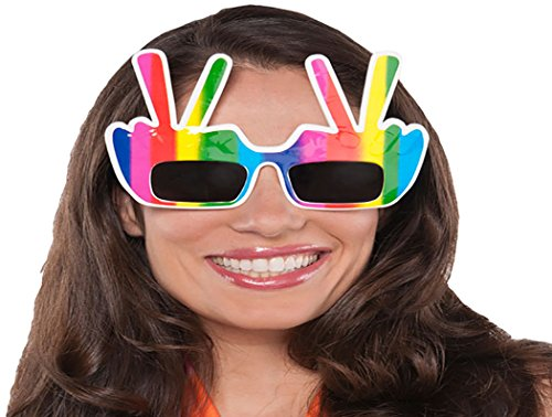 Amscan Groovy 60's Hippie H& Peace Sign Glasses Accessory Plastic Costume for Kids (6 (Toddler Groovy Girl Hippie Costumes)