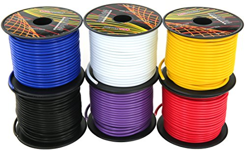 14 Gauge 6 Roll CCA Primary Wire Combo | 100 ft per roll, 600 feet total | 12V Automotive Harness Amplifier Wiring. Cable Color: Red Black Blue Yellow White Purple (Other Choices: 4 & 10 Color Set)